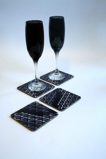 Greyscale Melamine Coasters - Geometry