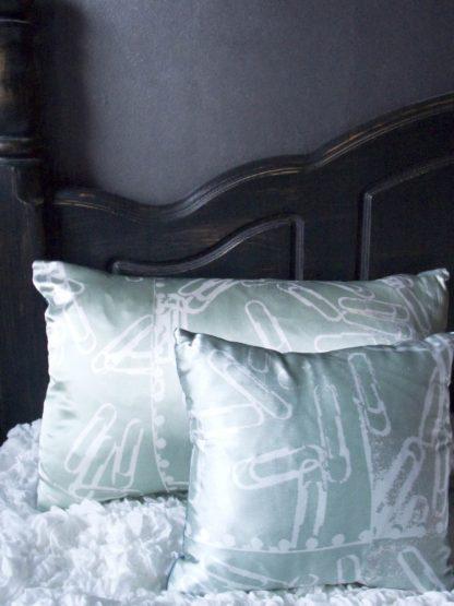 Mint Paperclips Long Silk Cushion