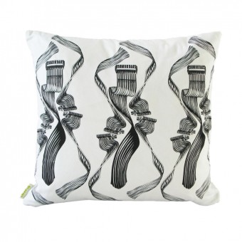 Dance! Black on White Cushion (Front)