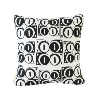 Modulate Black on White Cushion (Front)