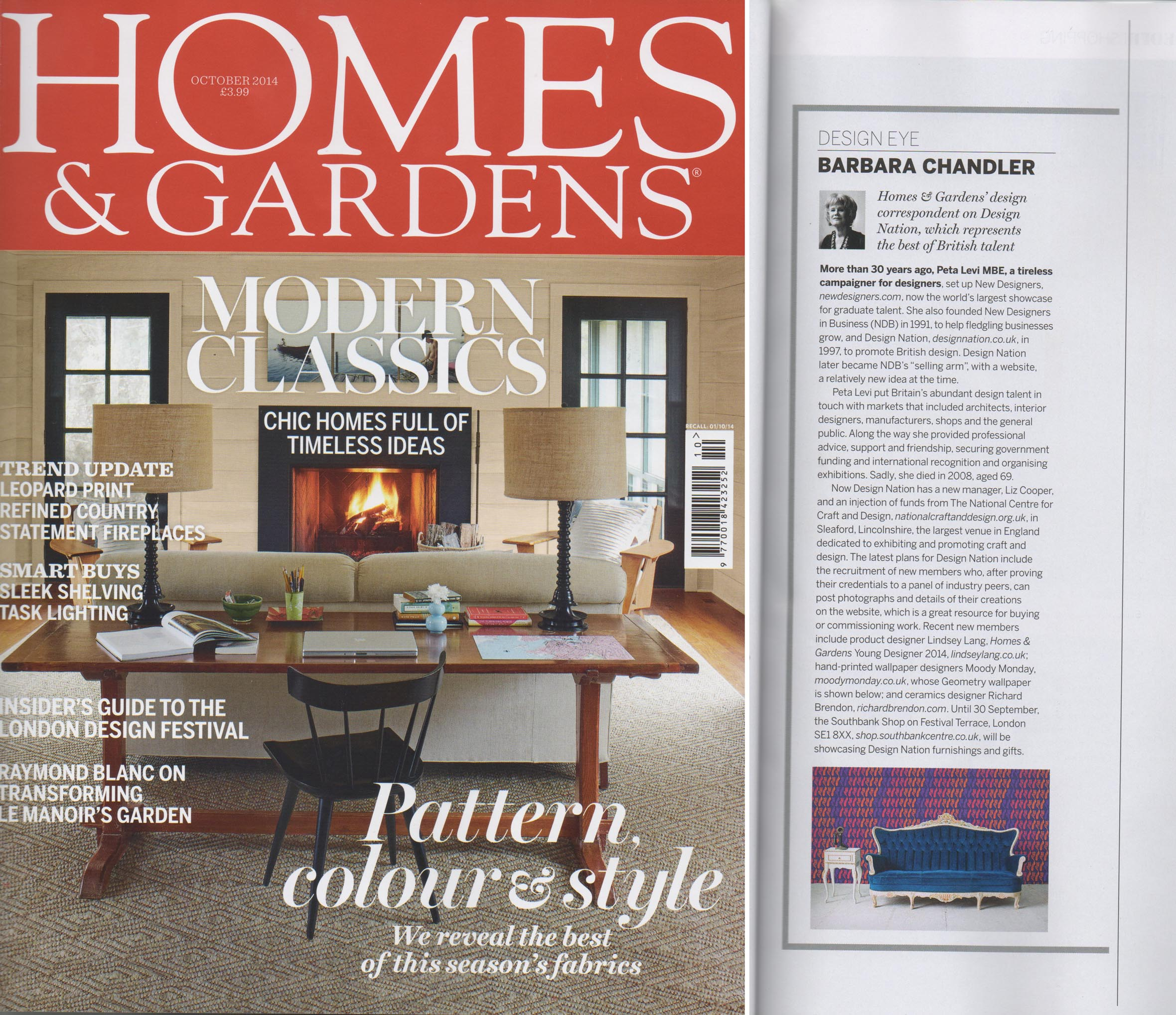 Homes and Gardens, October 2014 article by Barbara Chandler. Design Eye feature on the best of British talent.