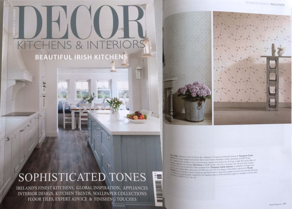 Press - DECOR Kitchens and Interiors, Ireland, Feb-Mar 2017 - Featuring Aquila hand-printed wallpaper from our most recent studio collection in contemporary design.