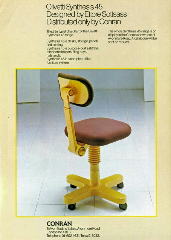 The Z9R typist chair by Ettore Sottsass for Olivetti, as seen in an original 1970s advert (Photo © and courtesy www.storiaolivetti.it – Associazione Archivio Storico Olivetti, Ivrea, Italy)