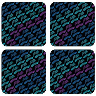 Geometry of The Sound (Blues/ Purple) Melamine Coasters x4