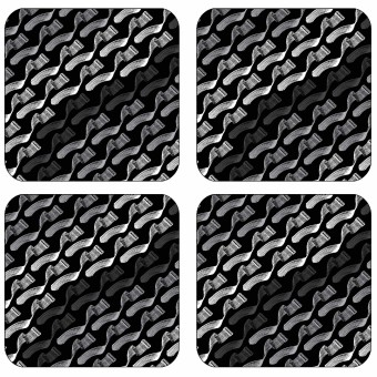 Greyscale Melamine Coasters Set - Geometry