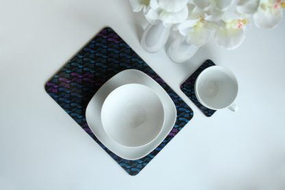 Geometry of The Sound (Blues/ Purple) Melamine Coaster & Placemat