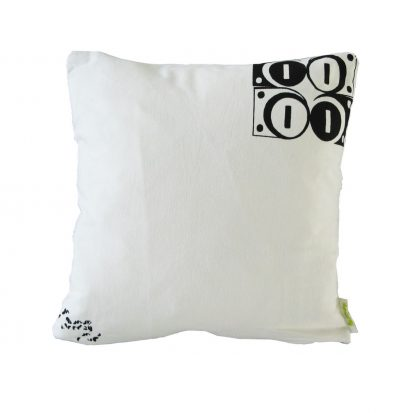 Modulate Black on White Cushion (Back)