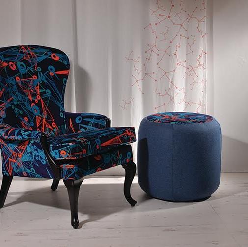 Nebulae Velvet Armchair and Footstool