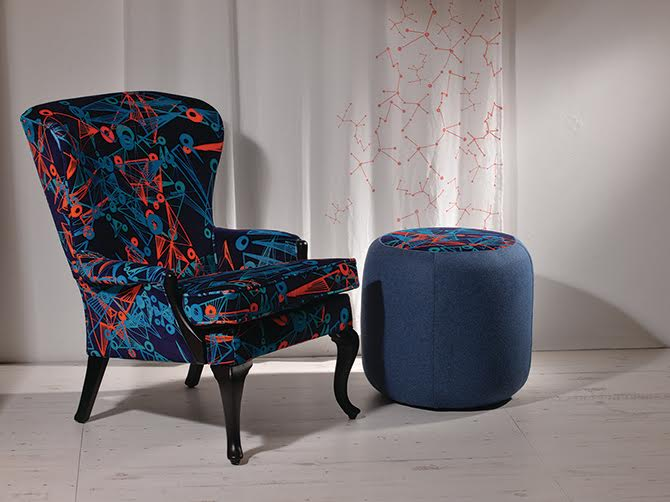 Nebulae Velvet Armchair and Footstool