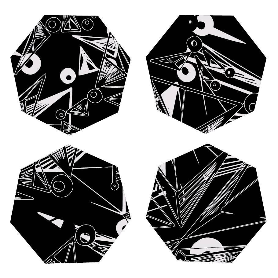 Nebulae reversible fabric coasters set of 4 for Nebula fabric uk