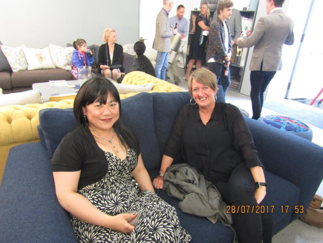 Photo from the showroom launch: Eliza (of Moody Monday) & Jane (of Jane Nelson Interiors)