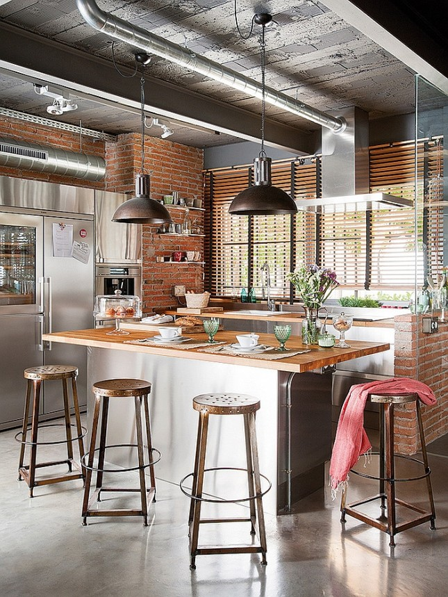 industrial style modern-kitchen-645x859