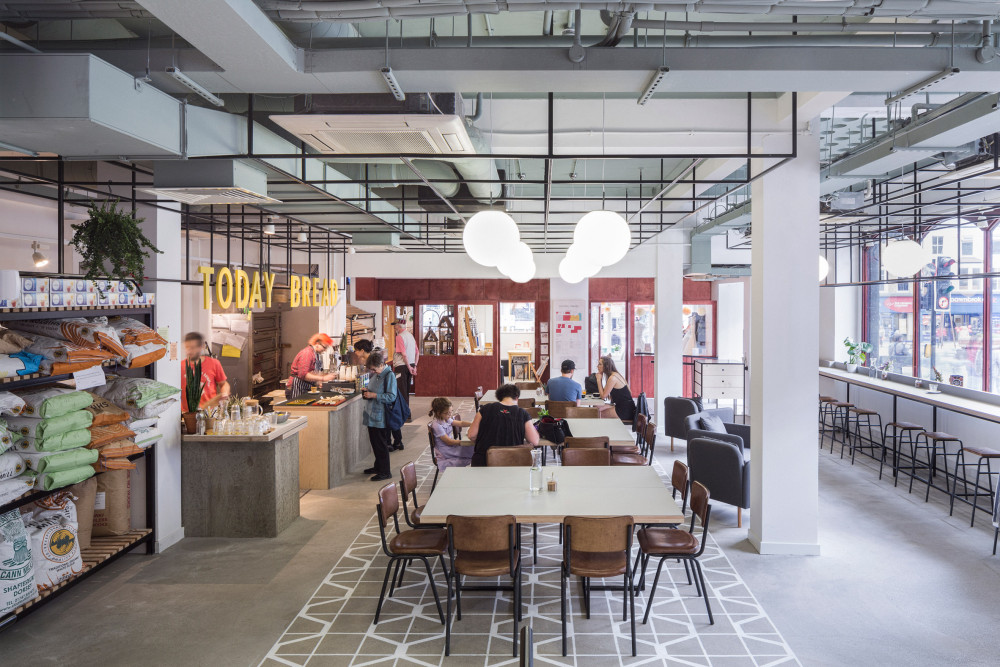 Interior Walthamstow Central Parade, shared work space and bakery, Photo: Dirk Linder